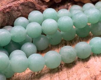 8mm AAA MATTE Green Aventurine Round Beads, one 8 inch strand