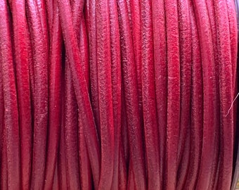 3mm RED Round Mediterranean Leather -Sold by yard