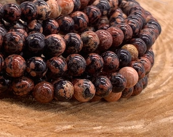 6mm Mexican Red Snowflake Jasper Round Bead-one 8 inch strand