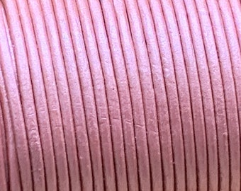 1.5mm METALLIC SALMON Round Indian Leather - Sold by yard