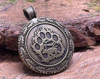 Nordic, Norse, Viking, Scandinavian, Native American Bear Metal Amulet Pendant