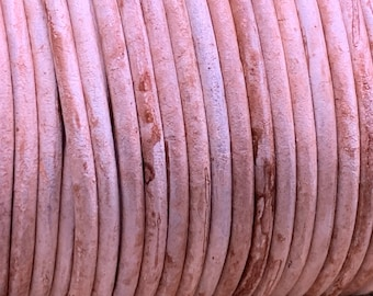 3mm WASHED OUT IVORY Round Indian Leather -Sold by yard