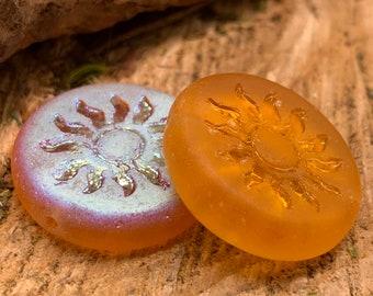 22mm Sun Coin Matte Pumpkin Czech Glass with An AB Finish - Pressed (2 beads) 0167