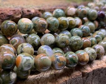 8mm Rhyolite Round Beads 8 inch strand