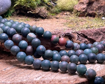 MATTE Blood Stone Large Hole 8mm Round - one 8 inch strand