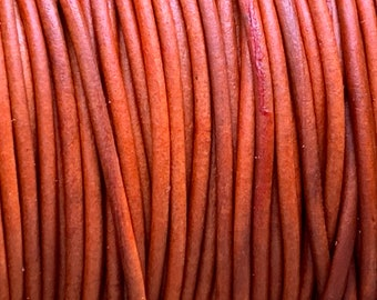 1.5mm NATURAL ORANGE Round Indian Leather - Sold by yard