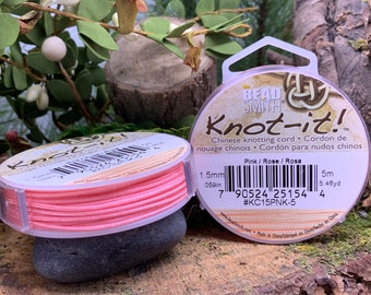 Pink 1.5mm Chinese Knotting Cord 5.46 yards Knot-It by Bead Smith