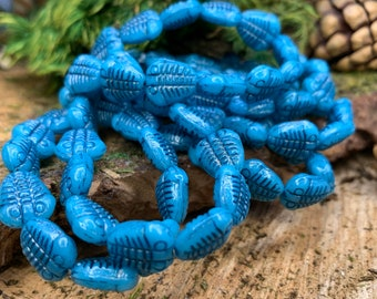 11x13mm Teal with Black Wash Trilobite Czech Glass Beads 10 beads- 1 strand