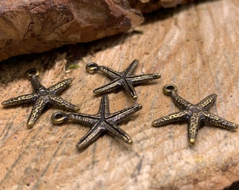 Starfish Antique Gold Charms Pewter (lot of 4)