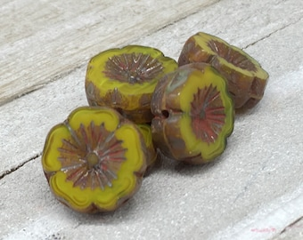 6 Czech Glass Beads 14mm Large Hibiscus Hawaiian Flower Chartreuse Yellow/Green with Picasso Finish