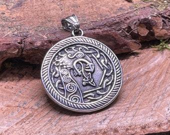 Nordic, Norse, Viking, Scandinavian Dragon Metal silver Amulet Pendant or VIking Charm