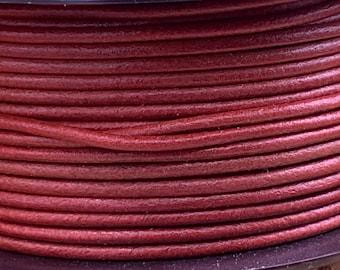 2mm SALMON Round Mediterranean Leather -Sold by yard