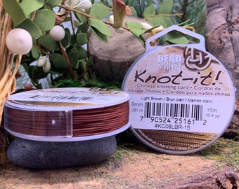 Light Brown .8mm Chinese Knotting Cord 16.4 yards Knot-It by Bead Smith