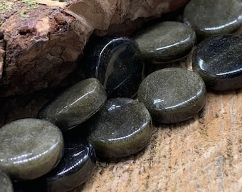 Golden Obsidian 12mm Coin Bead-one 8 inch strand