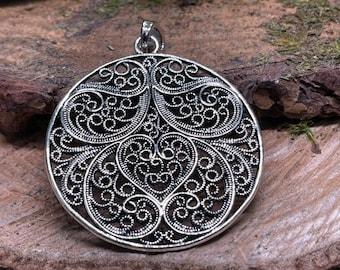 Large Metal Circle Filigree Medallion Pendant