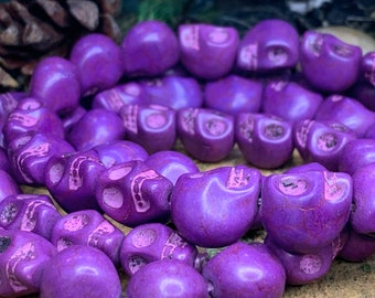 "10x13mm Dyed Skull Bead Purple 15"" strand"