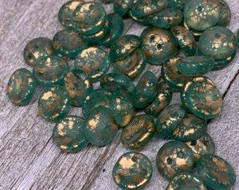4x8mm Piggy Bead Green and gold Wash Czech Glass Beads 50 Beads