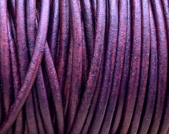 3mm NATURAL PURPLE Round Indian Leather -Sold by yard