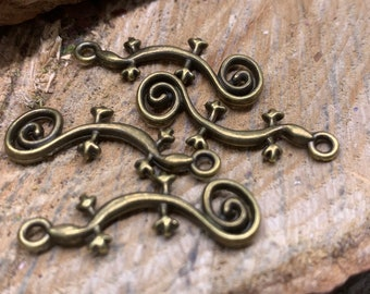 Antique Gold Lizard Charms (Lot of 4)