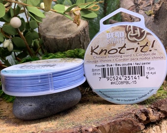 Powder Blue .8mm Chinese Knotting Cord 16.4 yards Knot-It by Bead Smith