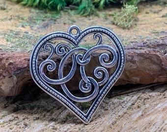 Metal Filigree Heart Boho Pendant
