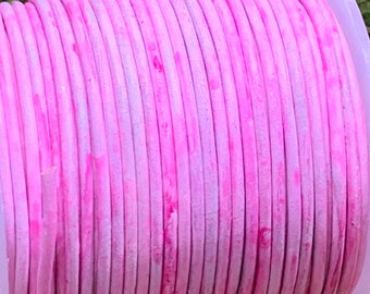 1.5mm PINK WASHOUT Round Indian Leather - Sold by yard
