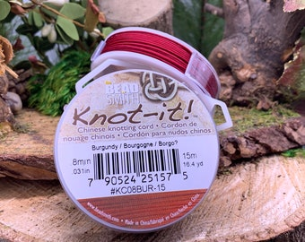 Burgundy .8mm Chinese Knotting Cord 16.4 yards Knot-It by Bead Smith