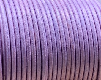2mm LILAC METALLIC Round Indian Leather - Sold by yard