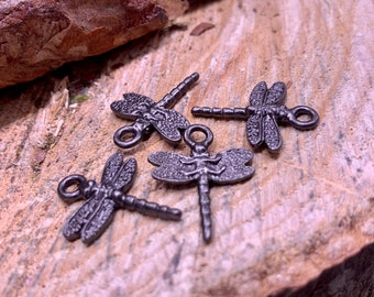 4 Dragonfly Charms Black Gunmetal double sided
