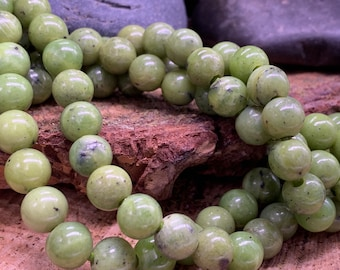 8mm Green Jade Large Hole Round bead-one 8 inch strand