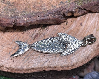 Large Silver Tone Fish Pendant, Boho Pendant