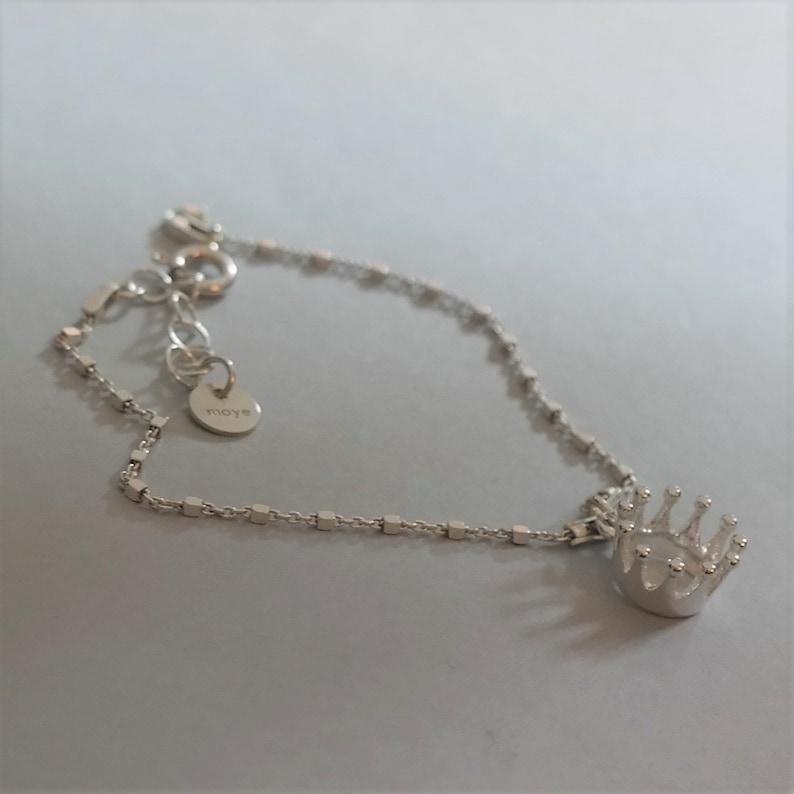 Gift for Her Crown Sterling Silver Bracelet Crown Charm 925 Silver Christmas Gift Princess Bracelet