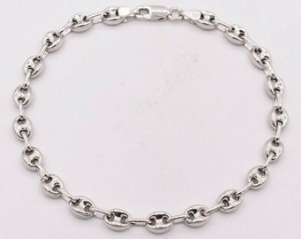 1 Sterling Silver 925  patterned mariner anchor hook cord leather bracelet clasp charm 41  mm