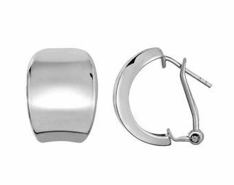 Sterling Silver Fancy 18MM Tapered Oval Latch Back Hoop Earrings