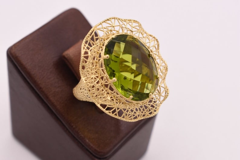 Size 6.5 Peridot Wavy Oval Filigree Ring 14K Yellow Gold Clad Silver 925
