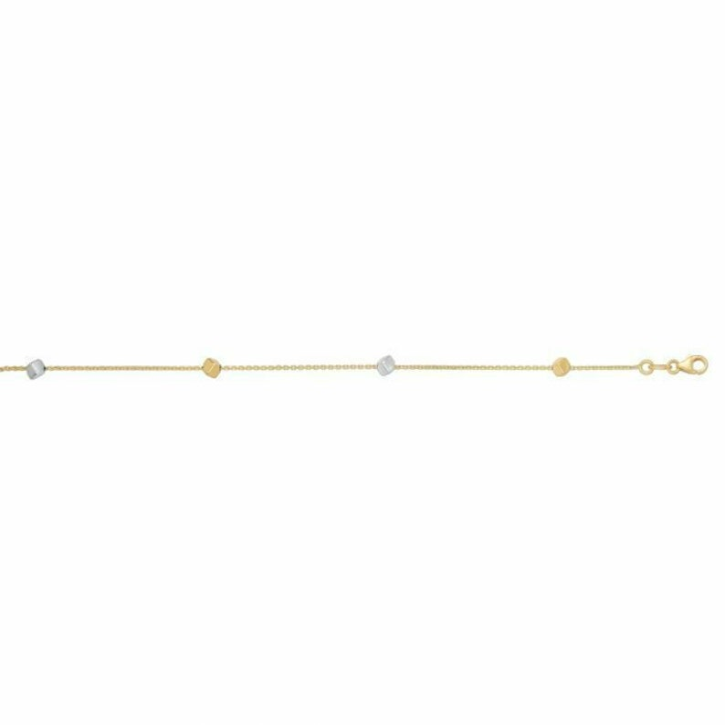 7.5 Polished Cube Bracelet Real 14K Two Tone Yellow Gold 1.0gr