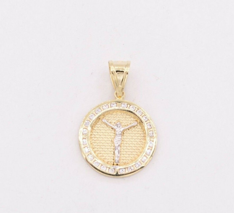 1.5 Crucifix Jesus CZ Cubic Zircon Medallion Pendant Real 10K Yellow White Gold