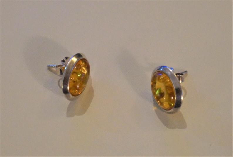 Sterling Silver Russian Amber Earrings