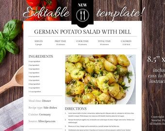 recipe sheet template free