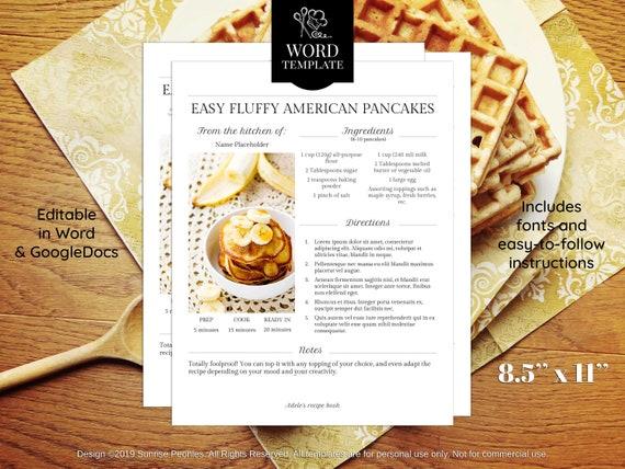 Editable Recipe Template 8 5 X 11 Word Recipe Binder Printable Cookbook Template Printable Cookbook Kitchen Printables