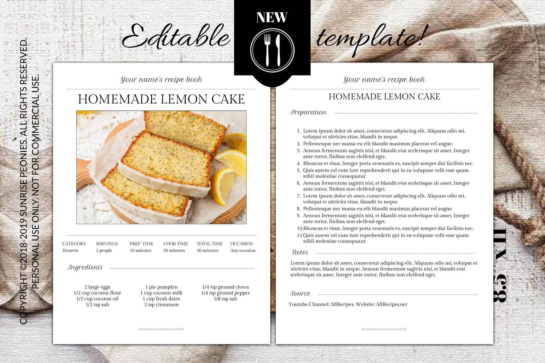 Descargar PDF Editable Recipe Template 8 5'' X 11'' MS | Etsy