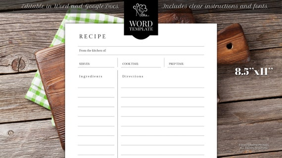 Editable recipe template, 8.5\u0027\u0027 x 11\u0027\u0027, WORD, Recipe binder printable,  Cookbook Template, Printable Cookbook, Kitchen printables