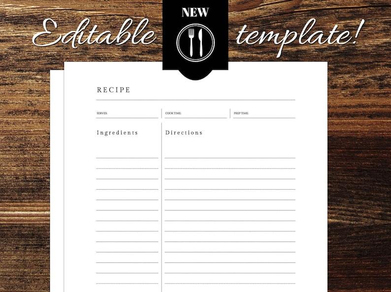 Editable Recipe Template 8 5 X 11 Excel Etsy