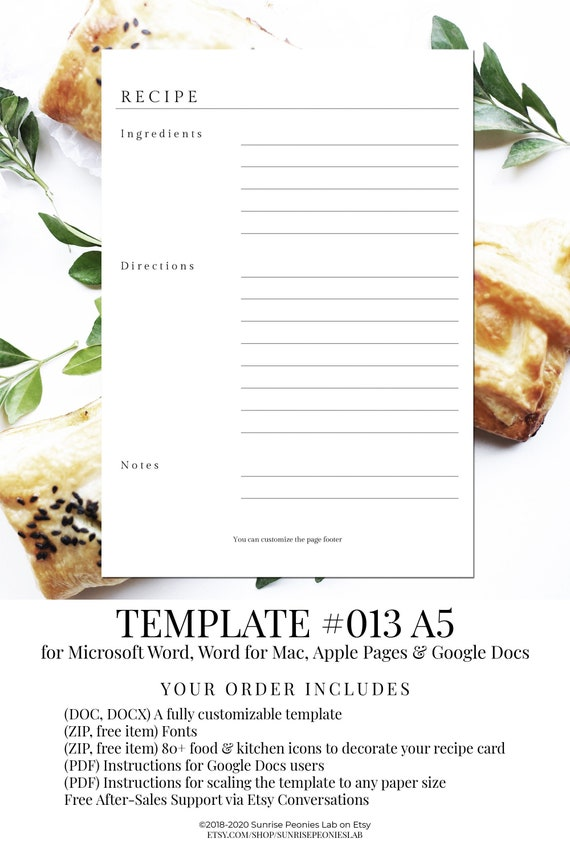 Free Recipe Page Template from i.etsystatic.com