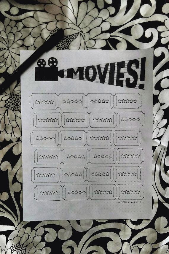 Digital Download Minimalist Movie Tracker Film Log For Bullet Etsy