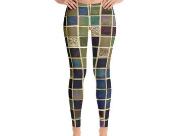 c009a370ebe0 Multicolor Mosaic Leggings, Mosaic Yoga Pant, Fitted Pant, Geometric  Leggings, Running Tights, Fashion Leggings Activewear Bottom Funky Pant