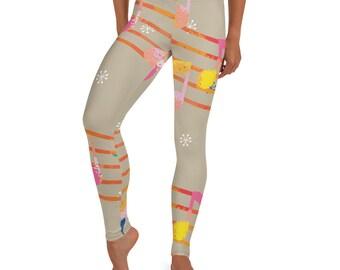 Colorful Trendy Leggings Fashion Leggings. Notes Leggings Foodie Leggings Kids Matching Leggings