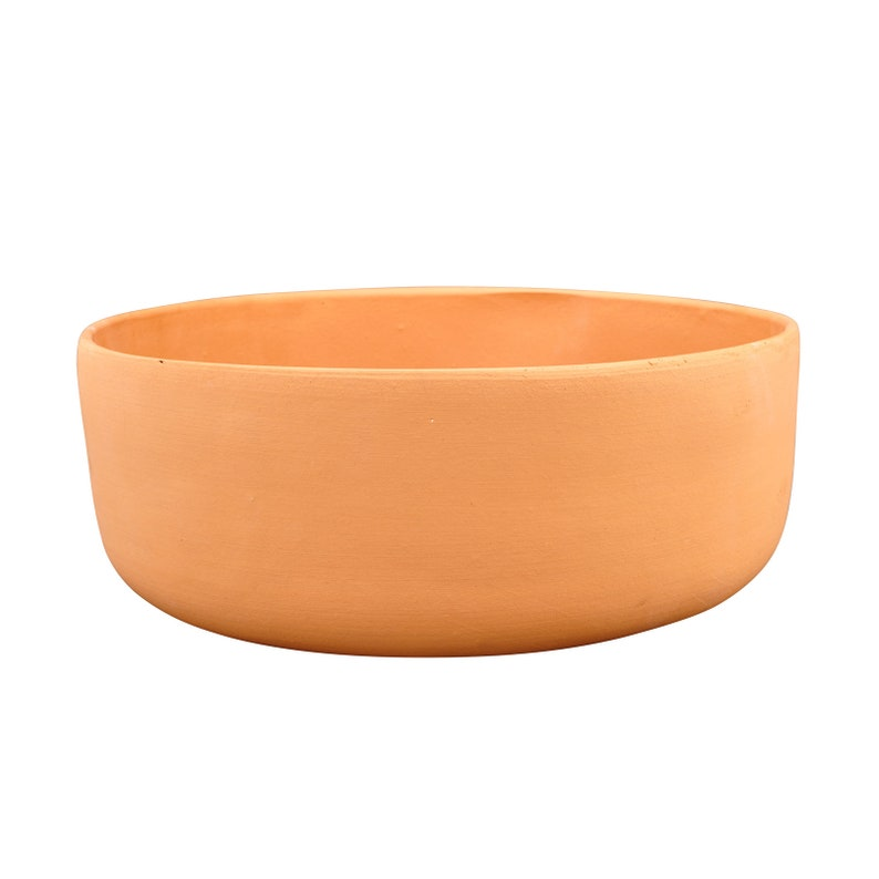 12 inches Wide Ceramic Terracotta Indoor Modern Flower Pot Raw Clay Straight Bowl Planter