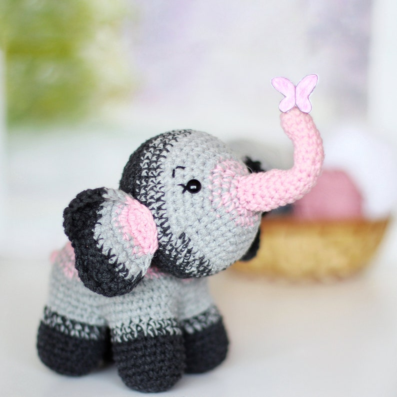 PATTERN crochet ELEPHANT pdf tutorial how crochet elephant jungle animal  pdf safari diy elephant pdf amigurumi elephant pattern toy