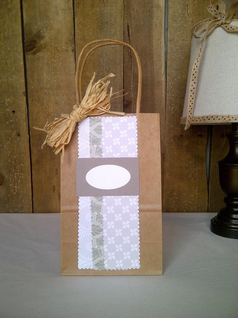 Baby Shower Bridal Shower Small Handmade Gift Bag with Raffia Bow Birthday Thank You Wedding Gift